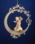 Angel with flute on the moon &.stars (08000-A)